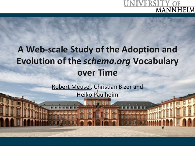 A Web-scale Study of the Adoption and Evolution of the schema.org Vocabulary over Time Robert Meusel, Christian Bizer and ...