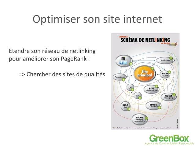 Optimiser son site internet Etendre son réseau de netlinking pour améliorer son PageRank : => Chercher des sites de qualit...