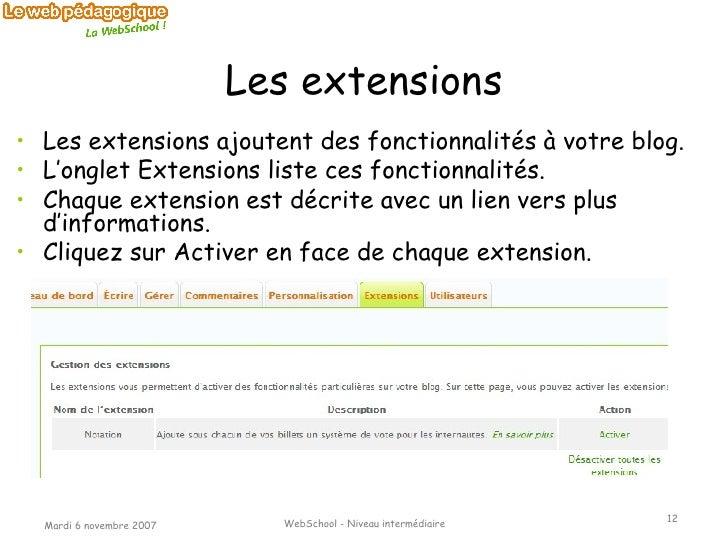 Les extensions <ul><li>Les extensions ajoutent des fonctionnalités à votre blog. </li></ul><ul><li>L'onglet Extensions lis...