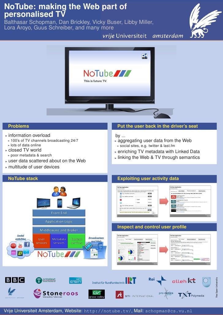 NoTube: making the Web part of personalised TV Balthasar Schopman, Dan Brickley, Vicky Buser, Libby Miller, Lora Aroyo, Gu...