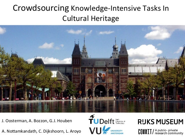 Crowdsourcing	   Knowledge-­‐Intensive	   Tasks	   In	    Cultural	   Heritage	    J.	   Oosterman,	   A.	   Bozzon,	   G....
