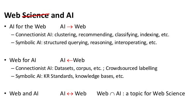 Web Science and AI • AI for the Web AI  Web – Connectionist AI: clustering, recommending, classifying, indexing, etc. – S...