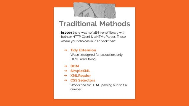 """Traditional Methods In 2009 there was no """"all-in-one"""" library with both an HTTP Client & a HTML Parser. These where your c..."""