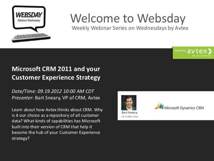 Welcome to Websday                               Weekly Webinar Series on Wednesdays by AvtexMicrosoft CRM 2011 and yourCu...