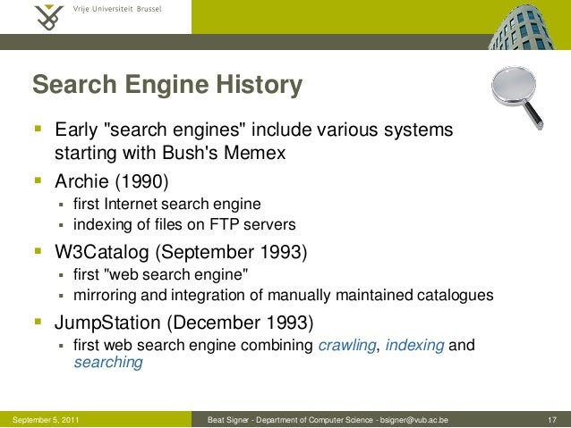 History Of Search And Web Search Engines