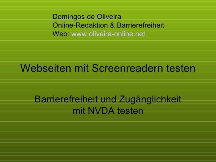 Webseiten mit Screenreadern testen Barrierefreiheit und Zugänglichkeit mit NVDA testen Domingos de Oliveira  Online-Redakt...
