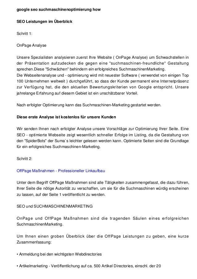 google seo suchmaschinenoptimierung howSEO Leistungen im ÜberblickSchritt 1:OnPage AnalyseUnsere Spezialisten analysieren ...