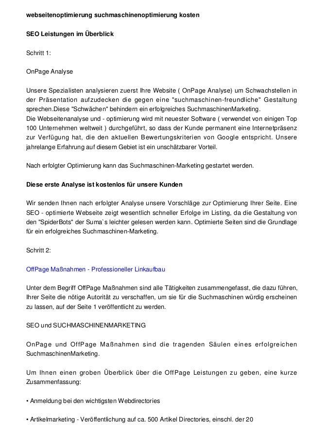 webseitenoptimierung suchmaschinenoptimierung kostenSEO Leistungen im ÜberblickSchritt 1:OnPage AnalyseUnsere Spezialisten...