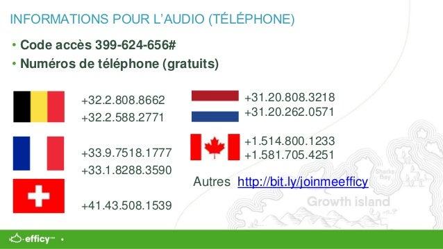 INFORMATIONS POUR L'AUDIO (TÉLÉPHONE) • Code accès 399-624-656# • Numéros de téléphone (gratuits) +32.2.808.8662 +32.2.588...
