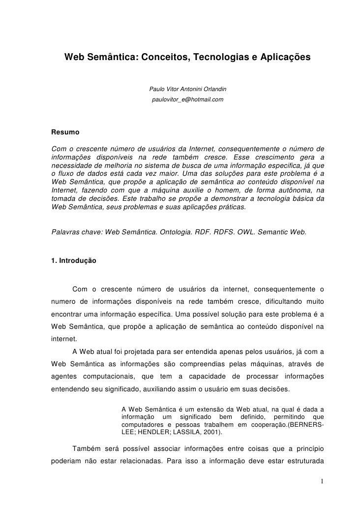 Web Semântica: Conceitos, Tecnologias e Aplicações                              Paulo Vitor Antonini Orlandin             ...