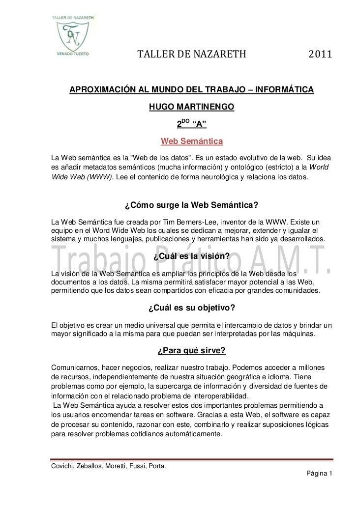 TALLER DE NAZARETH                                2011      APROXIMACIÓN AL MUNDO DEL TRABAJO – INFORMÁTICA               ...