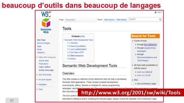 57  beaucoup d'outils dans beaucoup de langages  http://www.w3.org/2001/sw/wiki/Tools
