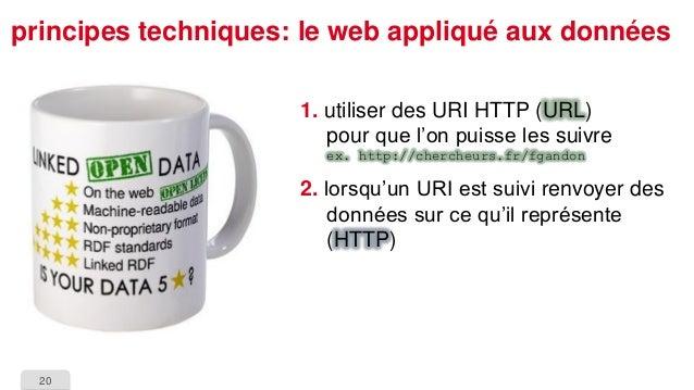 20  principes techniques: le web appliqué aux données  1.utiliser des URI HTTP (URL) pour que l'on puisse les suivreex. ht...