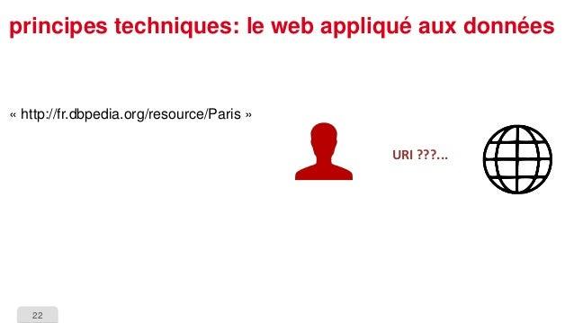 22  principes techniques: le web appliqué aux données  URI ???...  «http://fr.dbpedia.org/resource/Paris»