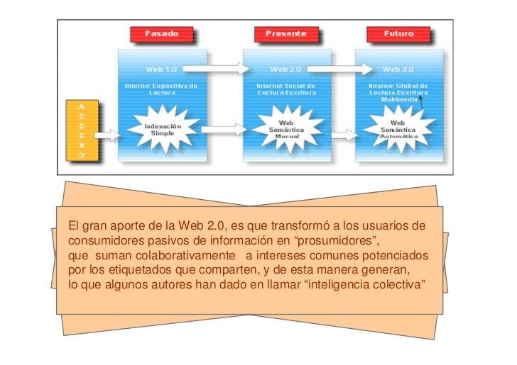 """El gran aporte de la Web 2.0, es que transformó a los usuarios deconsumidores pasivos de información en """"prosumidores"""",que..."""