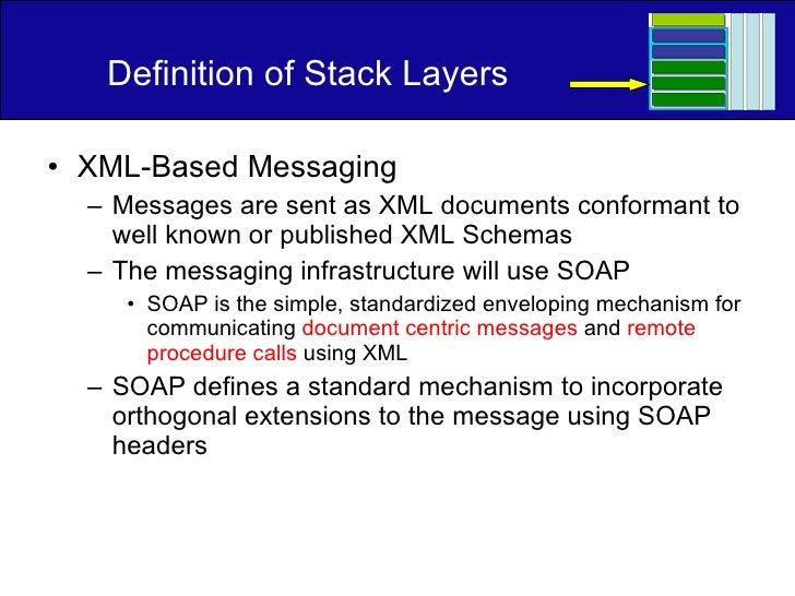 Definition of Stack Layers <ul><li>XML-Based Messaging </li></ul><ul><ul><li>Messages are sent as XML documents conformant...