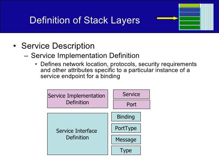 Definition of Stack Layers <ul><li>Service Description </li></ul><ul><ul><li>Service Implementation Definition </li></ul><...