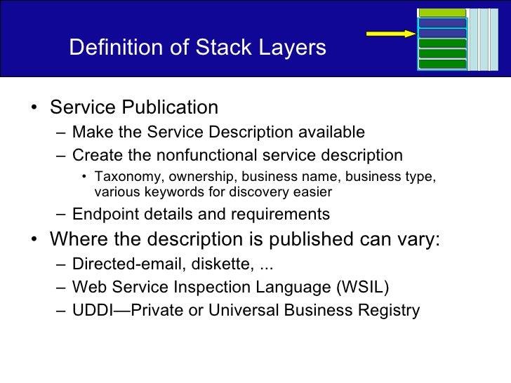 Definition of Stack Layers <ul><li>Service Publication </li></ul><ul><ul><li>Make the Service Description available </li><...