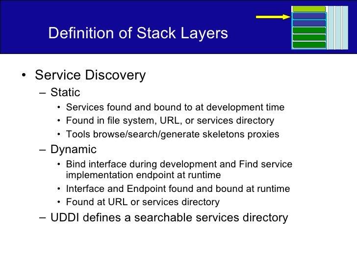 Definition of Stack Layers <ul><li>Service Discovery </li></ul><ul><ul><li>Static </li></ul></ul><ul><ul><ul><li>Services ...