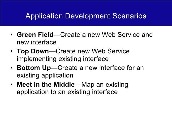 Application Development Scenarios <ul><li>Green Field —Create a new Web Service and new interface </li></ul><ul><li>Top Do...
