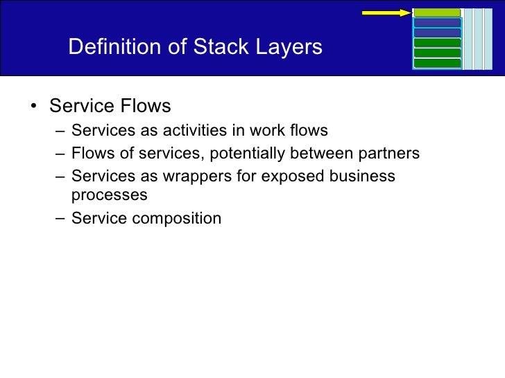 Definition of Stack Layers <ul><li>Service Flows </li></ul><ul><ul><li>Services as activities in work flows </li></ul></ul...