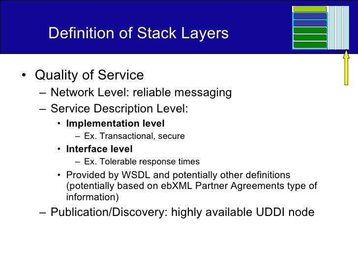 Definition of Stack Layers <ul><li>Quality of Service </li></ul><ul><ul><li>Network Level: reliable messaging </li></ul></...