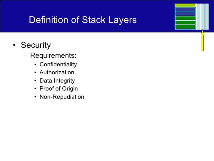 Definition of Stack Layers <ul><li>Security </li></ul><ul><ul><li>Requirements: </li></ul></ul><ul><ul><ul><li>Confidentia...