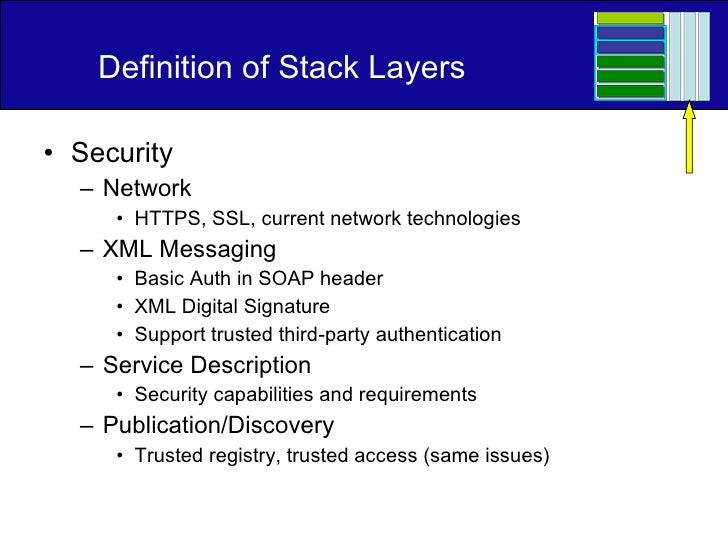 Definition of Stack Layers <ul><li>Security </li></ul><ul><ul><li>Network </li></ul></ul><ul><ul><ul><li>HTTPS, SSL, curre...