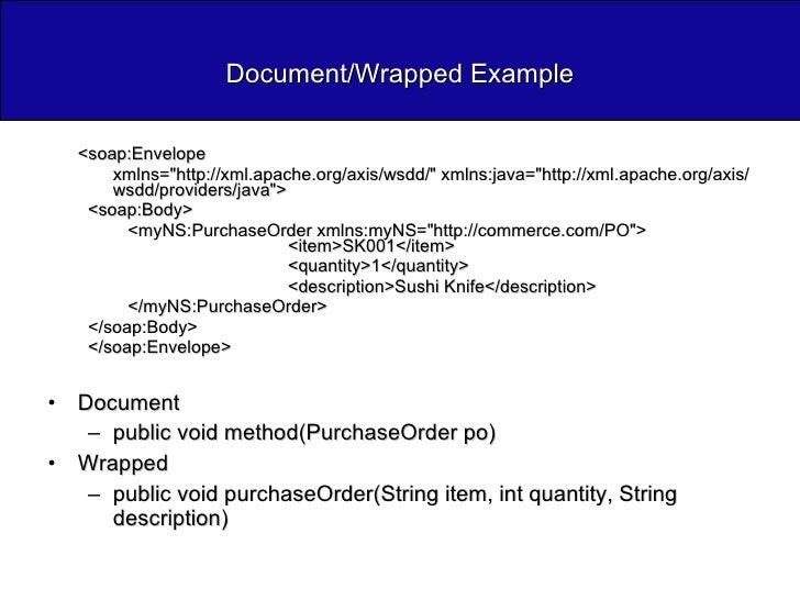Document/Wrapped Example <ul><li><soap:Envelope  </li></ul><ul><ul><li>xmlns=&quot;http://xml.apache.org/axis/wsdd/&quot; ...