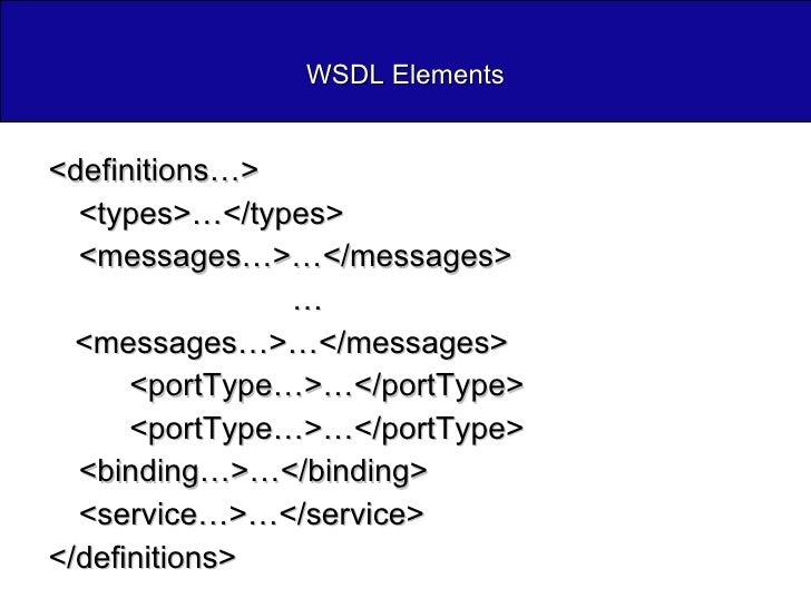 WSDL Elements <ul><li><definitions…> </li></ul><ul><li><types>…</types> </li></ul><ul><li><messages…>…</messages> </li></u...