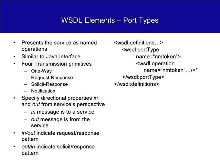 WSDL Elements – Port Types <ul><li>Presents the service as named operations </li></ul><ul><li>Similar to Java Interface </...