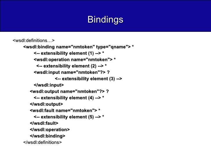 Bindings <ul><li><wsdl:definitions…>  </li></ul><ul><ul><li><wsdl:binding name=&quot;nmtoken&quot; type=&quot;qname&quot;>...