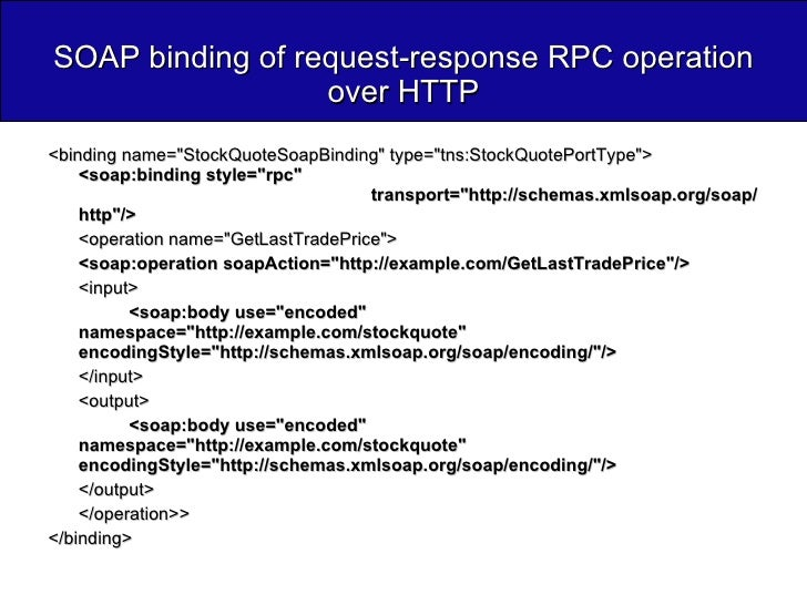 SOAP binding of request-response RPC operation over HTTP <ul><li><binding name=&quot;StockQuoteSoapBinding&quot; type=&quo...