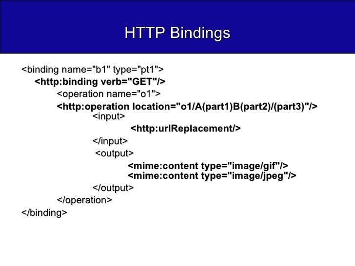 HTTP Bindings <ul><li><binding name=&quot;b1&quot; type=&quot;pt1&quot;>  </li></ul><ul><li><http:binding verb=&quot;GET&q...