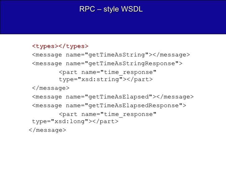 RPC – style WSDL <ul><ul><li><types></types>  </li></ul></ul><ul><ul><li><message name=&quot;getTimeAsString&quot;></messa...
