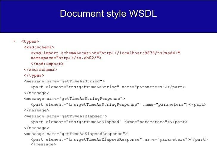 Document style WSDL <ul><li><types>  </li></ul><ul><ul><li><xsd:schema>  </li></ul></ul><ul><ul><li><xsd:import schemaLoca...