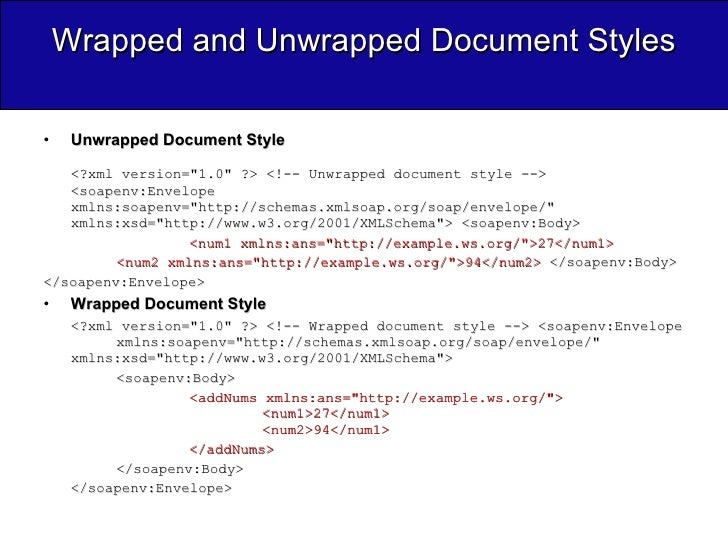 Wrapped and Unwrapped Document Styles <ul><li>Unwrapped Document Style </li></ul><ul><li><?xml version=&quot;1.0&quot; ?> ...