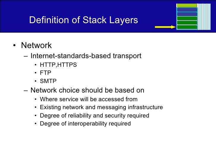 Definition of Stack Layers <ul><li>Network </li></ul><ul><ul><li>Internet-standards-based transport </li></ul></ul><ul><ul...