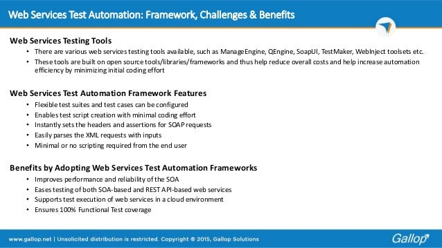 Web services test automation framework challenges-benefits