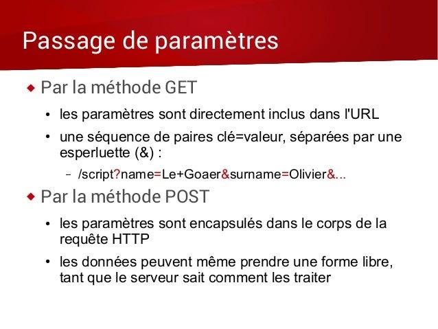 Passage de paramètres  Par la méthode GET ● les paramètres sont directement inclus dans l'URL ● une séquence de paires cl...