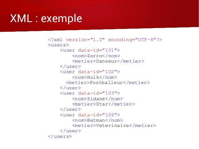 "XML : exemple <?xml version=""1.0"" encoding=""UTF-8""?> <users> <user data-id=""101""> <nom>Zorro</nom> <metier>Danseur</metier..."