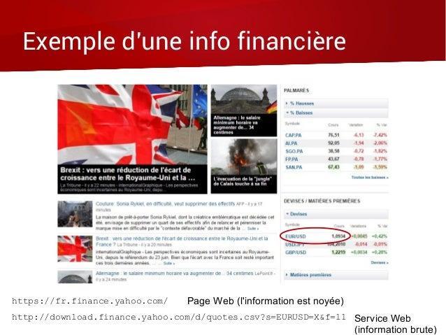 Exemple d'une info financière https://fr.finance.yahoo.com/ Page Web (l'information est noyée) http://download.finance.yah...