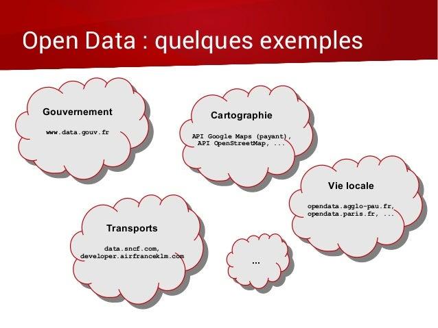 Open Data : quelques exemples Gouvernement www.data.gouv.fr Gouvernement www.data.gouv.fr Vie locale opendata.agglo-pau.fr...