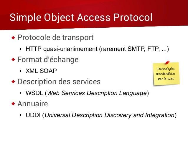 Simple Object Access Protocol  Protocole de transport ● HTTP quasi-unanimement (rarement SMTP, FTP, ...)  Format d'échan...