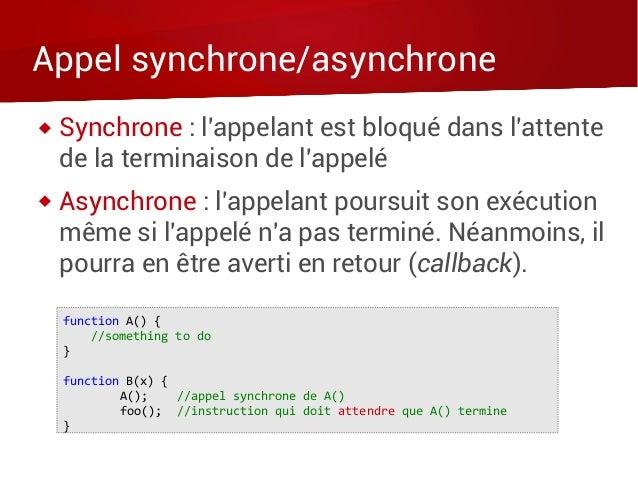 Appel synchrone/asynchrone  Synchrone : l'appelant est bloqué dans l'attente de la terminaison de l'appelé  Asynchrone :...