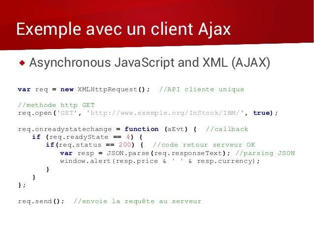 Exemple avec un client Ajax  Asynchronous JavaScript and XML (AJAX) var req = new XMLHttpRequest(); //API cliente unique ...