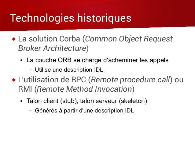 Technologies historiques  La solution Corba (Common Object Request Broker Architecture) ● La couche ORB se charge d'achem...