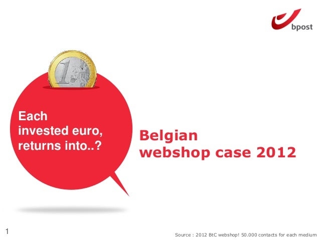 Belgianwebshop case 20121 Source : 2012 BtC webshop! 50.000 contacts for each mediumEachinvested euro,returns into..?