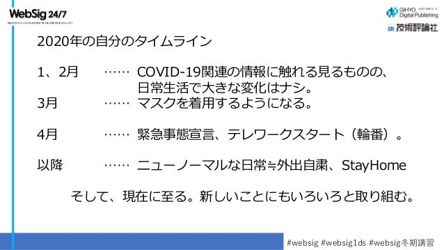 技術評論社・WebSig24/7 馮資料(WebSig冬期講習2021「コロナ禍の1年の振り返りとテレワーク・リモートワークの課題と可能性」) Slide 3