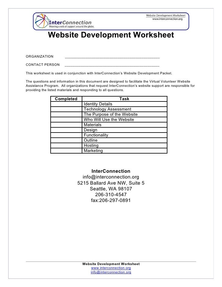 Website Development Worksheet  ORGANIZATION            _______________________________________________  CONTACT PERSON    ...